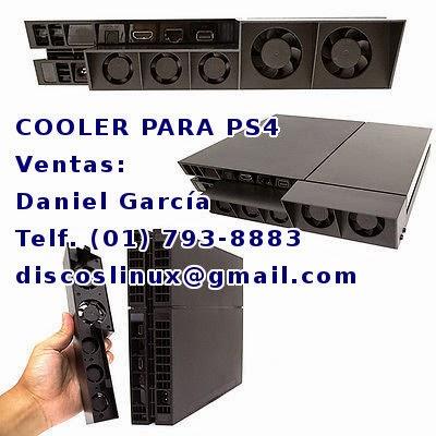 Cooler para PS4 venta en Lima Peru. Enfria la consola, ayuda a la ventilacion , extrae el aire caliente del PS4. Sony Playstation 4 jugar online Free Nat2, disco duro 2TB para PS4 venta instalacion