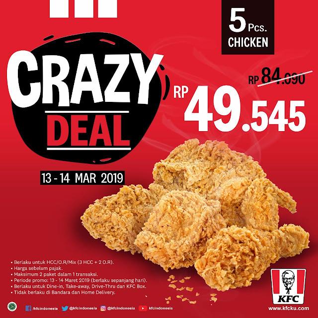 #KFC - #Promo Crazy Deal Dapatkan 5 Ayam Hanya 49 Ribuan (s.d 14 Maret 2019)