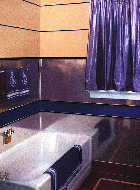 Photo of a 1939 bathroom in copper and purple