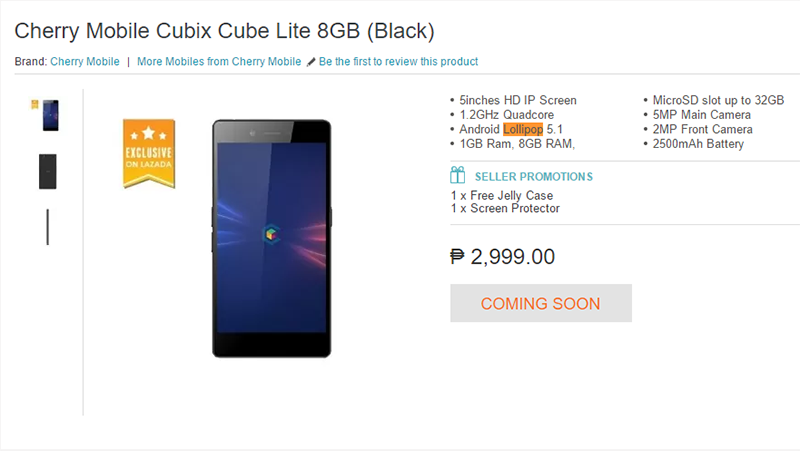 Cherry Mobile Cubix Lite Spotted At Lazada PH: Quad Core 5 Inch HD Phone For 2999 Pesos!