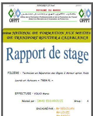 Rapport de stage rapport de stage technicien en r paration for Introduction rapport de stage cuisine