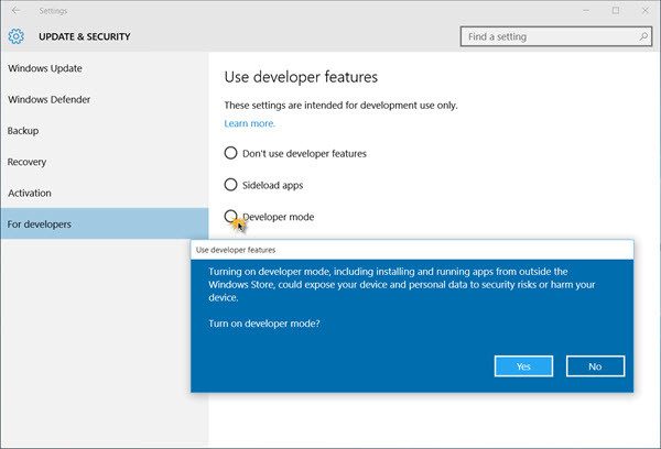 how to enable windows 10 developer mode