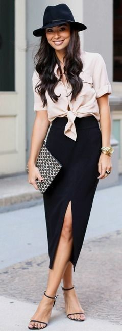 amazing bussines outfit / black hat + blouse + clutch + heels + pencil skirt