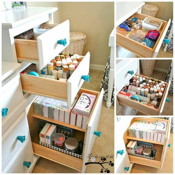 Custom build drawers with dividers for craft storage for paint, boxes, stamps and punches - 24 Amazing Storage Ideas That You Will Freakin' Love!