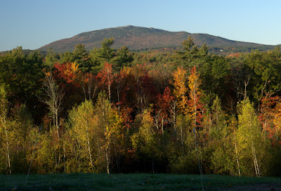 Mt. Monadnock in morning sunlight with bright fall leaves