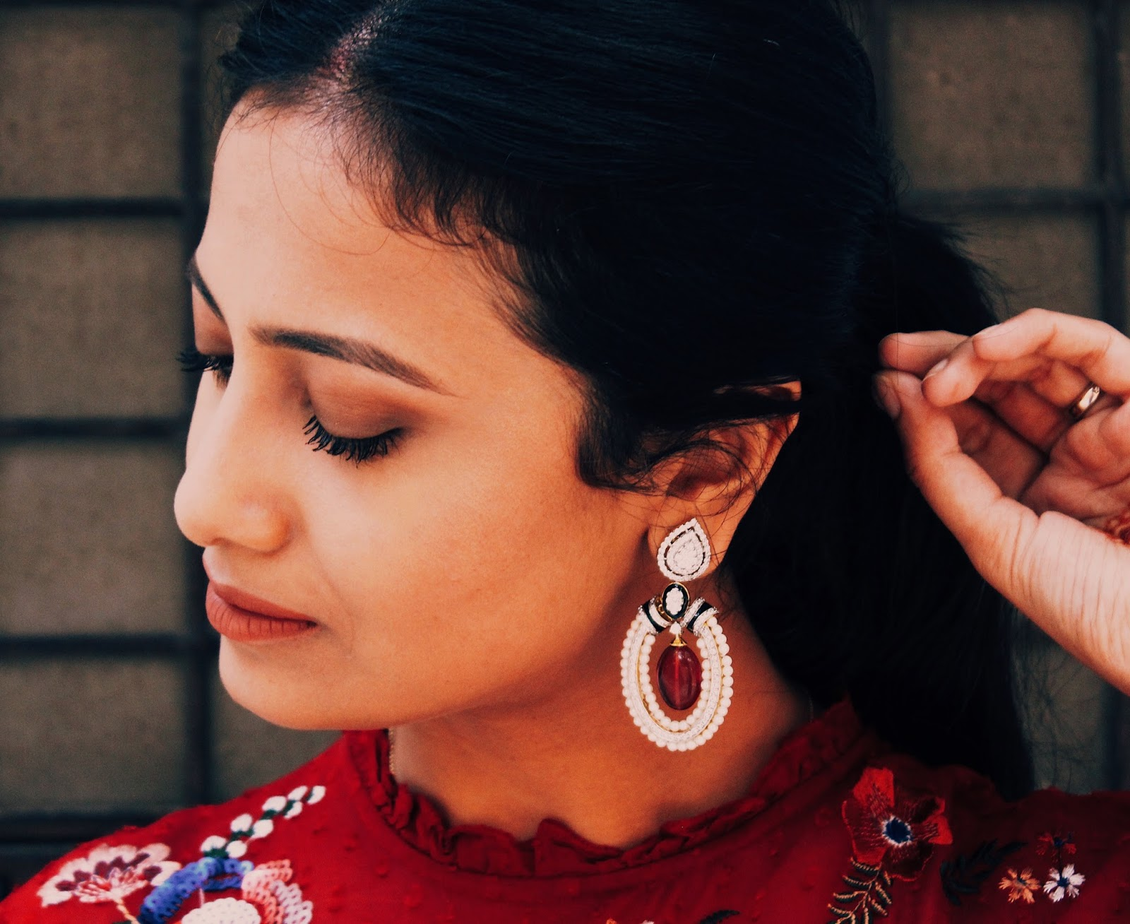 diwali party outfit, red dress, embroidered, tsara, tsara earrings, TSARA review, indian blog, indian fashion blogger, uk blog, zara red dress, earrings, chandelier earrings, silver earrings, destination jewellery