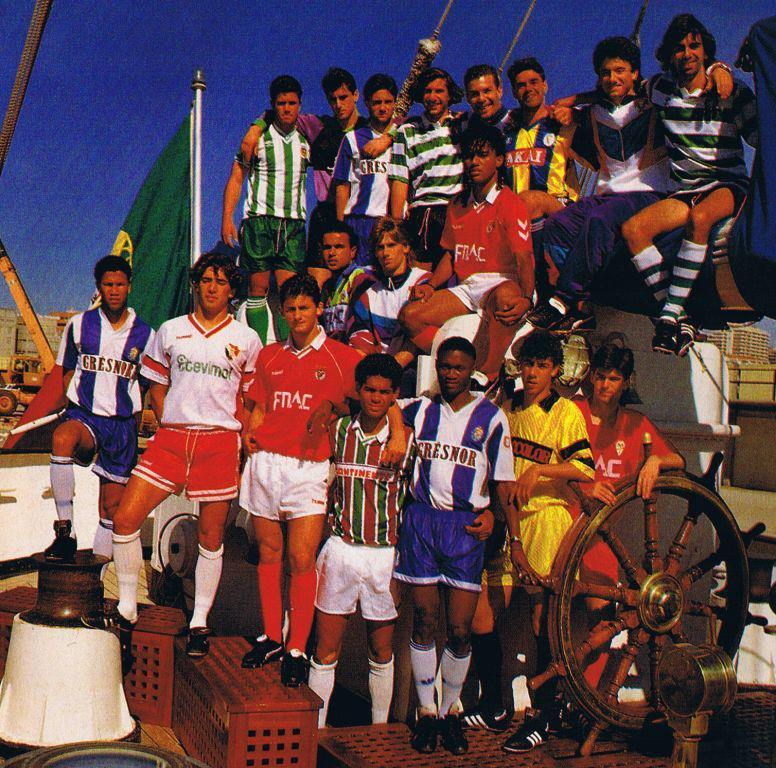 98ebc7c676795 SELECCAO JUNIOR DE PORTUGAL CAMPEA DO MUNDO 1991 - OS JOGADORES COM AS  CAMISOLAS DOS SEUS TIMES
