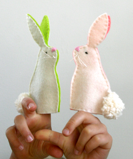 bee finger puppet template - funky fabrix easter bunny finger puppets free pattern