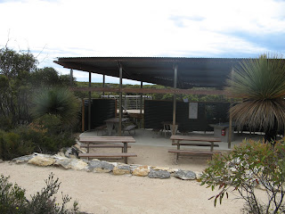 The kitchen and dining shelter at Sanderson Beach