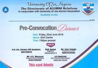 University of Jos Alumni Pre-Convocation Dinner Schedule - 2018