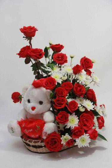 teddy bear with red rose wallpaper