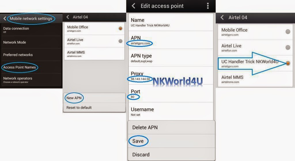 airtel uc handler trick proxy setting www.nkworld4u.com/