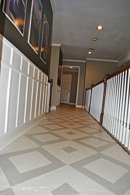 Amazing Grays Diamond Pattern Painted Plywood Floor