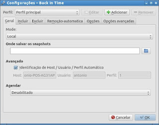 Back in Time salve arquivos