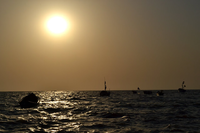 Daman sea Gujarat Travel Tourism Guide India sunset golden light
