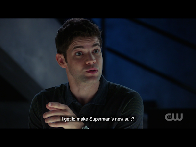 "Winn says ""I get to make Superman's new suit?"""