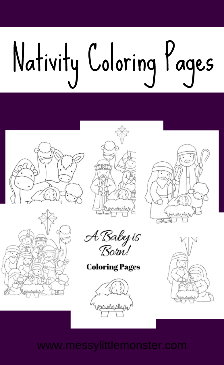 Free printable nativity coloring pages. Christmas colouring activities for kids.