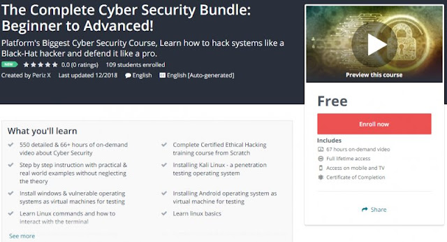 [100% Free] 67Hrs+ The Complete Cyber Security Bundle: Beginner to Advanced!