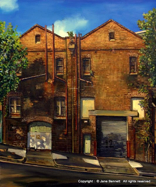 oil painting of Pyrmont bond store by artist Jane Bennett