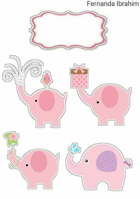 Elephants in Pink Free Printable Cake Toppers.