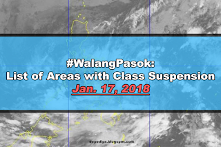 #WalangPasok: Class suspensions, Wednesday, January 17