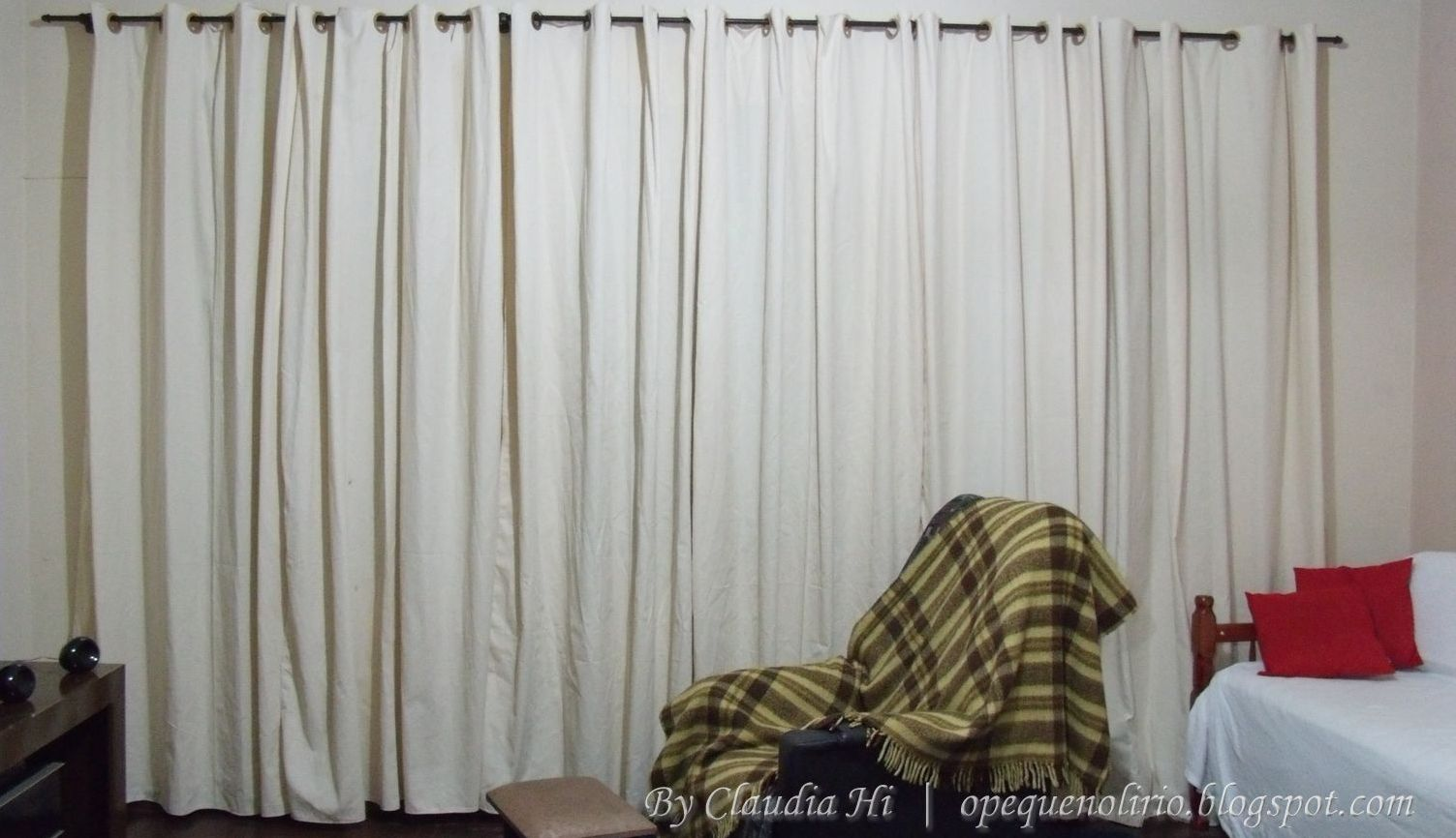 passo a passo, diy, room curtain, cortina da sala, creme