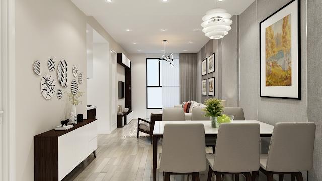 Phòng ăn căn 61m2 chung cư Riverside Garden