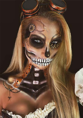 Steampunk sketelon makeup face painting and body painting