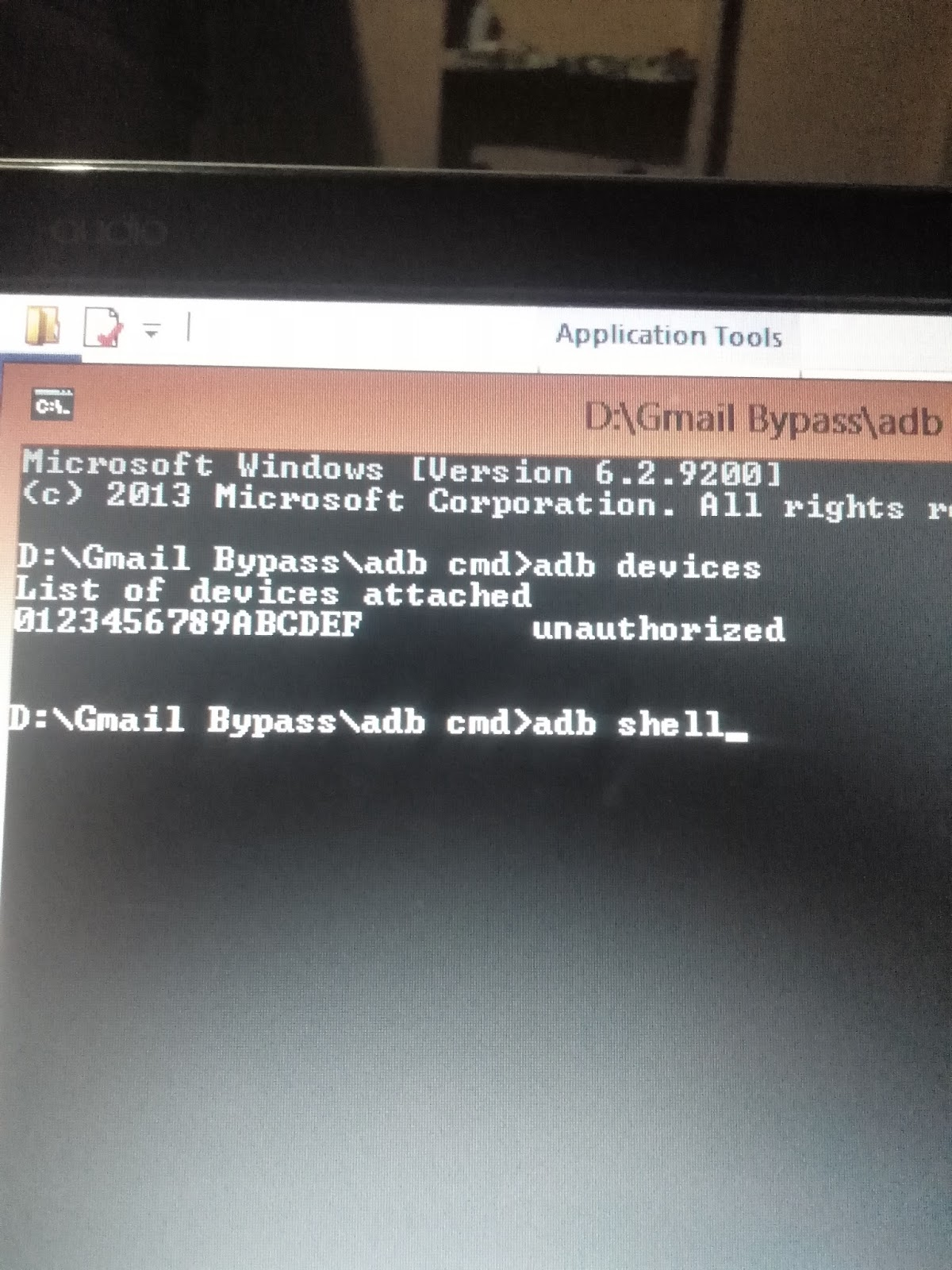Type Adb Shell in CMD window and press inter Button again
