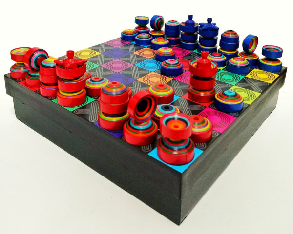 colorful rolled paper chess set