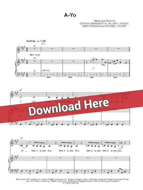 lady gaga, a yo, sheet music, piano notes, chords, keyboard, voice, vocals, klavier noten, partition