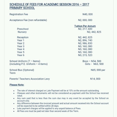 See primary and secondary school fee charge in Lekki