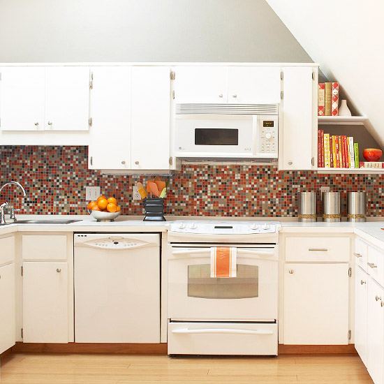 bright orange tile backsplash - photo #13