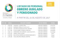 LISTADO DE PERSONAL OBRERO JUBILADO Y PENSIONADO A PARTIR DEL 01 DE AGOSTO DE 2017