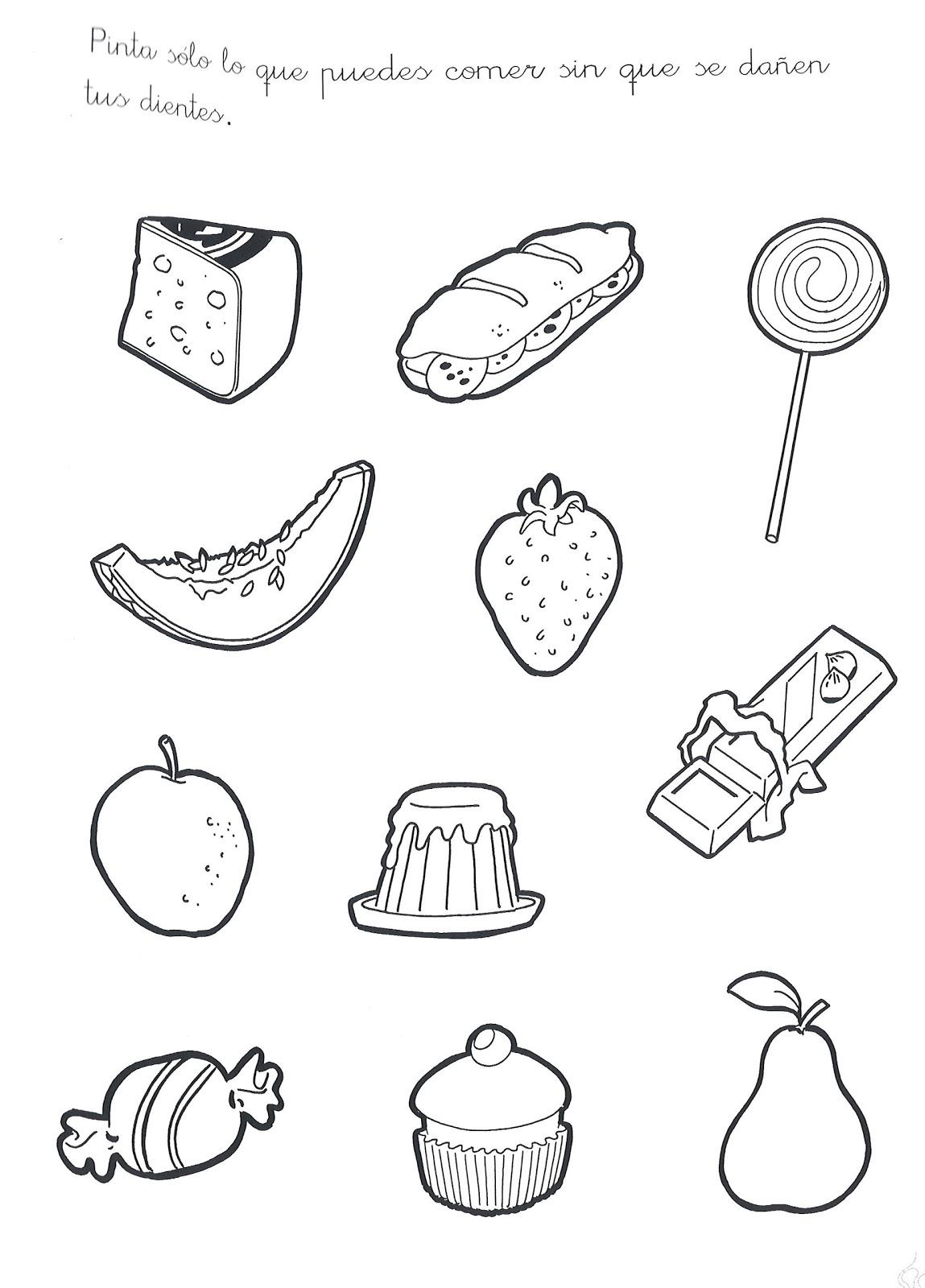 Fichas De Los Alimentos Nutritivos Para Colorear