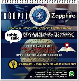 Sebuah Brosur online acara Table Talk  member Zapphirecoin