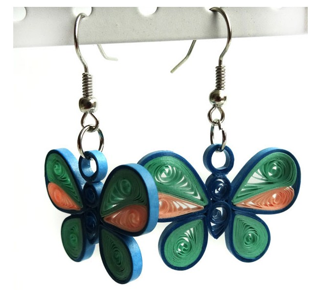 Quilling Earring Designs Butterfly : Cute Butterfly model quilling earring designs 2015 - Quilling designs