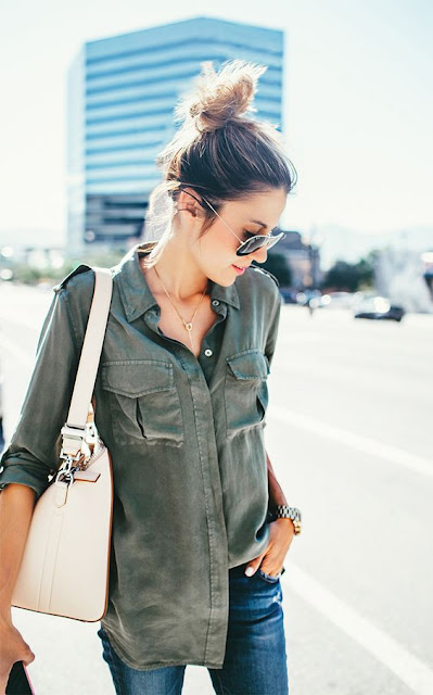olive green blouse with denim street style casual