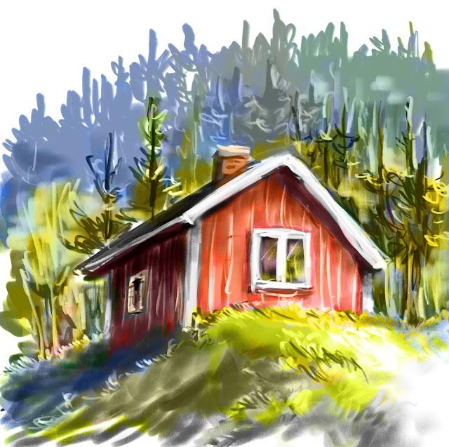 Red cottage by Artmagenta