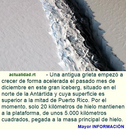 Un iceberg del tamaño de medio Puerto Rico está a punto de separarse de la Antártida