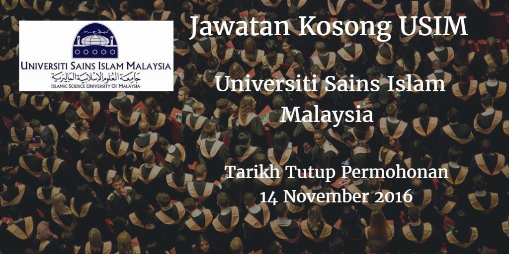 Jawatan Kosong USIM 14 November 2016