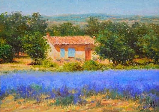 Cottage at the edge of lavender field, landscape oil painting