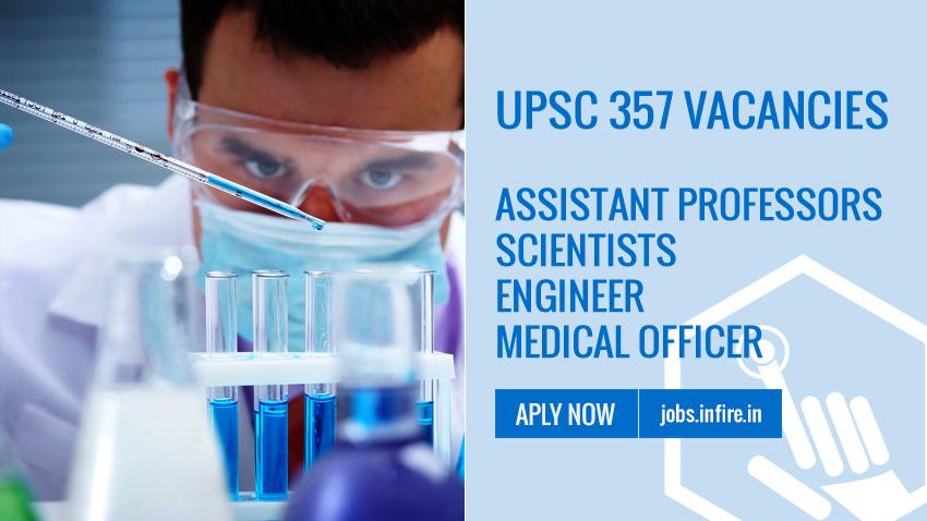 UPSC 357 Vacancies Advertisement No 01/2019 - Apply Online