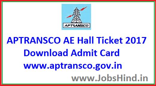 AP TRANSCO AE Hall Ticket 2017