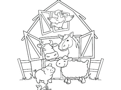 Cute Cow Chicken Pig Horse And Sheep Coloring Pages On Farm