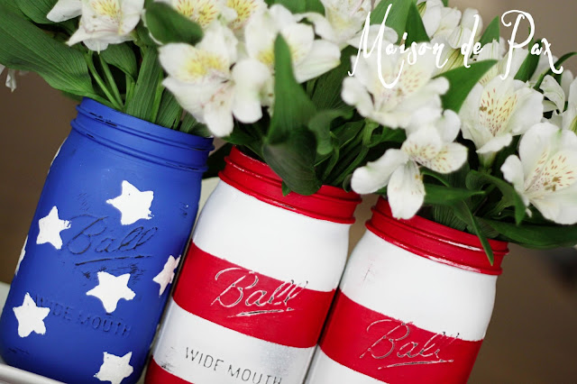 American Flag Mason Jars- Maison de Pax