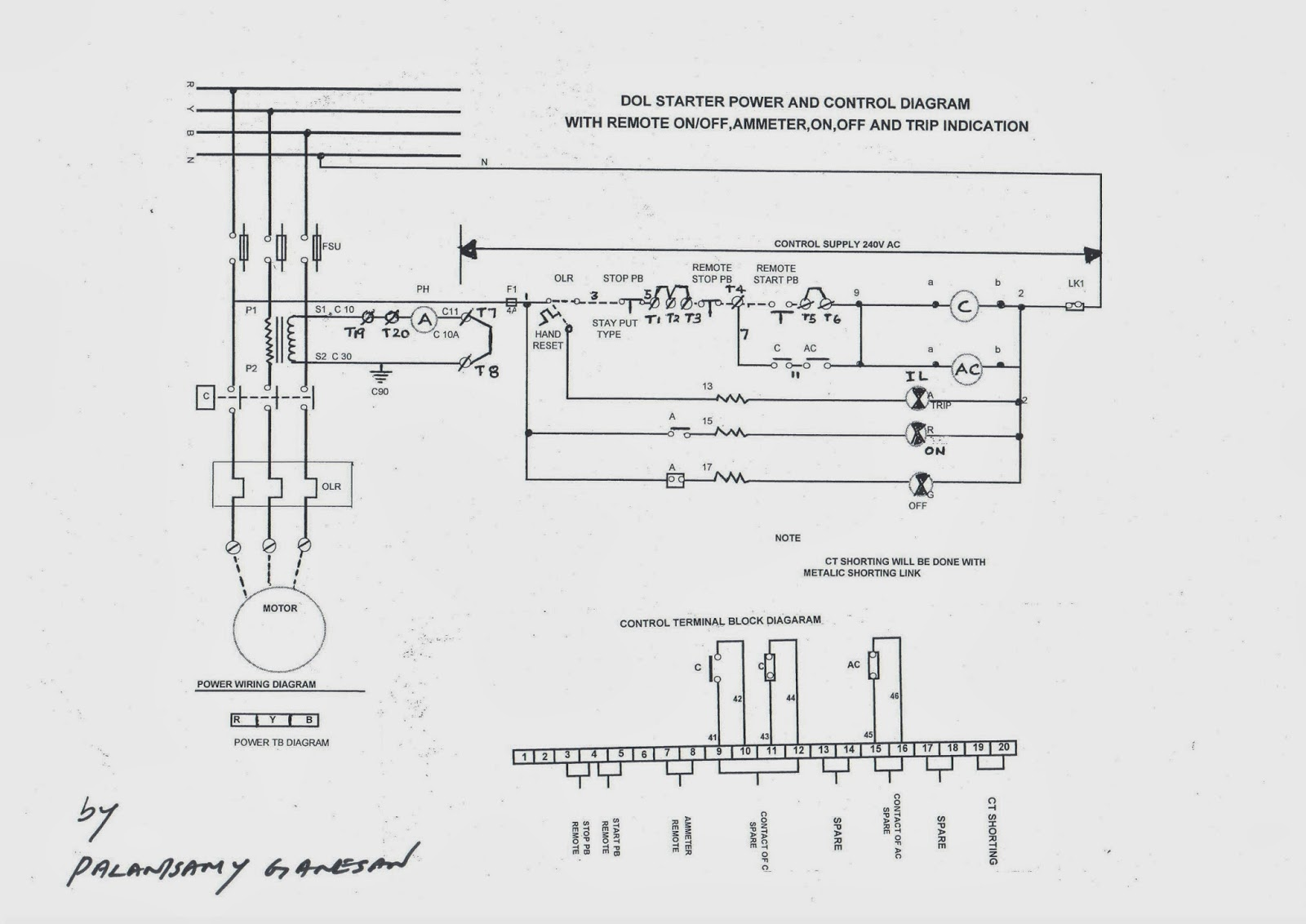 wiring diagram of a single phase dol starter lewis dot for pf3 230v free engine image