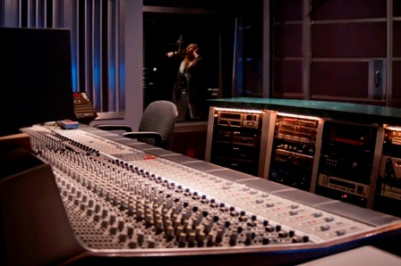 Pajama Studio mixing board with view of vocal both