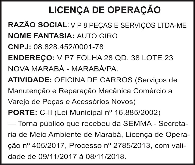 LICENÇA D OPERAÇÃO - AUTO GIRO - MARABÁ/PA
