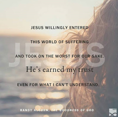 """Jesus willingly entered into this world of suffering and took on the worst for our sake. He's earned my trust even for what I can't understand."" - Randy Alcorn"